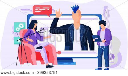 Woman Talk To Boy About A Movie Near The Monitor. Man Is Pressing Play Button. A People Stand And Lo
