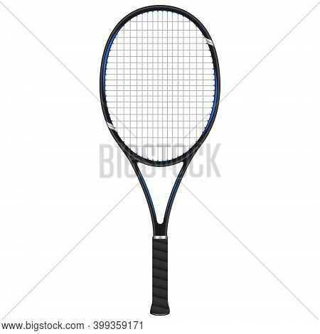 Tennis Racket In Red And Black Design, 3d Vector Illustration