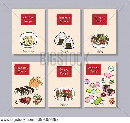 Hand Drawn Poster Set Of Japanese Cuisine With Yakitori, Tempura, Sushi, Onigiri, Nabe, Sashimi, Mis
