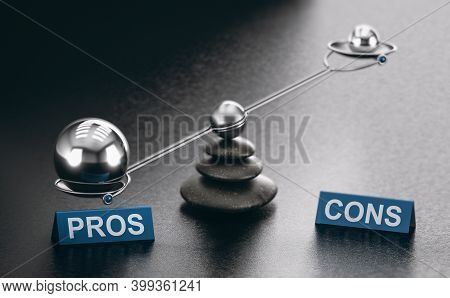 3d Illustration Of A Scale With The Words Pros Ans Cons Over Black Background