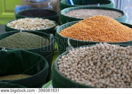 Many Sack Bags With Dried Legumes And Cereals