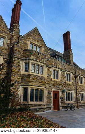 Princeton, Nj Usa - Novenber 12, 2019: Students Bicycles Near The Educational Building Of Princeton