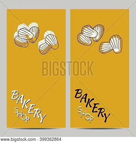 Hand Drawn Set Of Bakery Shop Poster With Madeleine. Design Sketch Element For Menu Cafe, Bistro, Re
