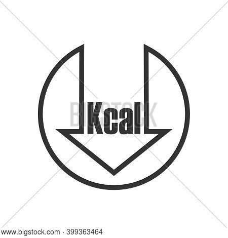 Calories Reduction Icon. Low Kilocalories Graphics Sign. Kcal Reduction Isolated Symbol On White Bac