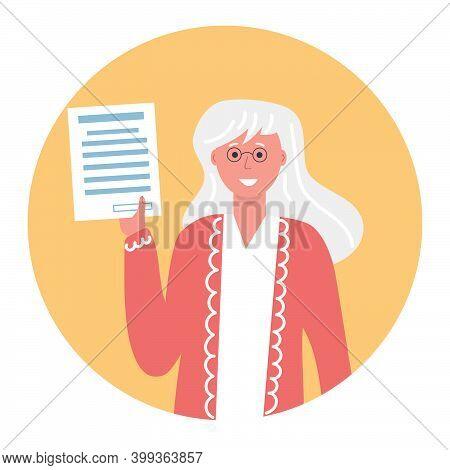 Retiree, Pensioner, Senior Citizen Hold Blank In Her Hand. Flat Illustration.