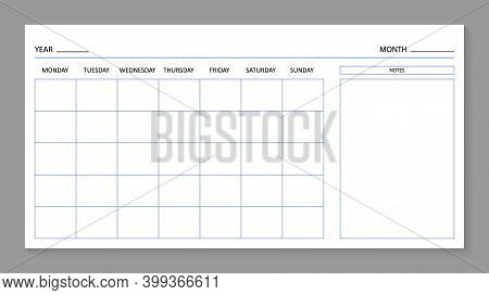 Month Planner Template. Blank Calendar For 2021 Year. Page For Agenda. Calender With Grid On Wall. A