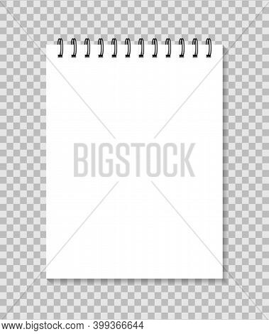 Notebook With Spiral. Mockup Of Paper Notepad. White Template Of Realistic Of Diary For Note. Blank