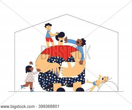 Difficult And Frustrated Parenting Work From Home Multicultural Family Adoptive Father And Children