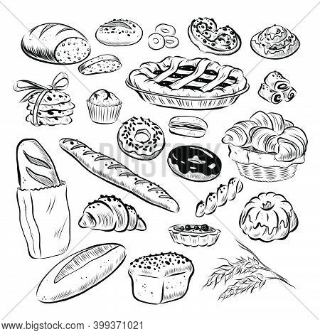 Collection Of Hand Drawn Baked Goods Outline Bread, Cookies, Donuts, Cupcakes, Buns Objects Isolated
