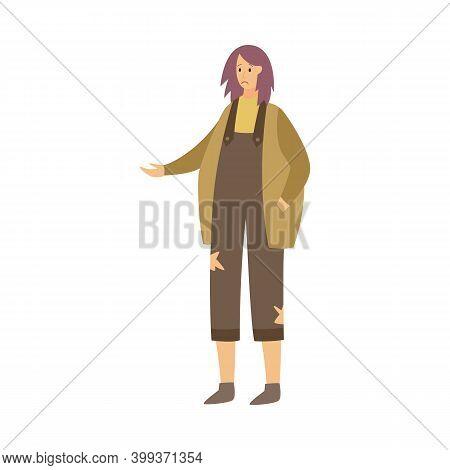 Homeless Woman In Beggar Clothes - Poverty Concept Of Sad Cartoon Girl