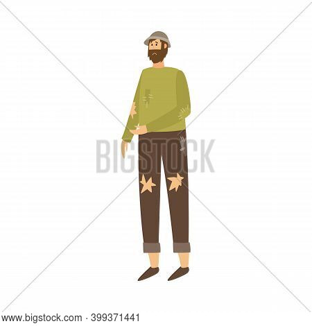 Poor Homeless Man Character In Torn Clothes Flat Vector Illustration Isolated.