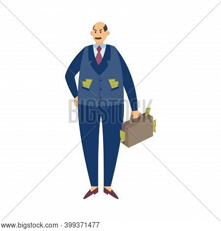 Rich Successful Man Or Millionaire Character Flat Vector Illustration Isolated.