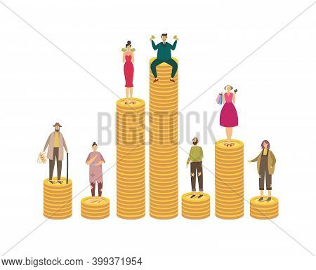 Poor And Rich People On Stacks Of Coins Flat Vector Illustration Isolated.