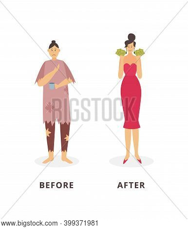 Rich And Poor Women - Before And After Financial Success Concept