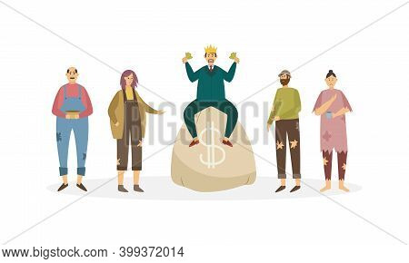 Rich Man With Huge Money Bag Near A Begging Poor People A Vector Illustration