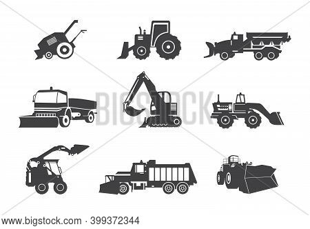 Vector Set Of Snow Plows For Cleaning Roads From Snow In Winter Season