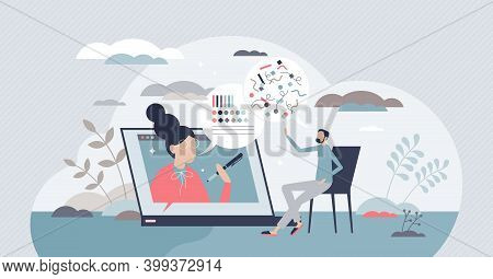 Online Psychological Help With Videocall Conversation Tiny Person Concept