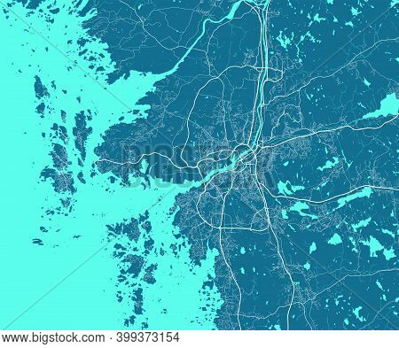 Detailed Map Of Gothenburg City Administrative Area. Royalty Free Vector Illustration. Cityscape Pan