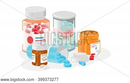 Collection Of Transparent Bottles With Oral Medications, Health Therapy. Vector Organism Support Wit