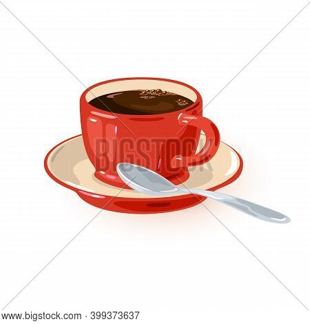 Fresh Aromatic Caffeine In Red Mug On Saucer With Spoon. Vector Refreshing Drink For Breakfast, Ener
