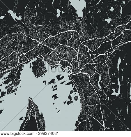 Urban City Map Of Oslo. Vector Illustration, Oslo Map Grayscale Art Poster. Street Map Image With Ro