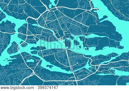 Detailed Map Of Stockholm City Administrative Area. Royalty Free Vector Illustration. Cityscape Pano