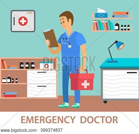 Medical Clinic Worker Holding Document And First Aid Kit. Emergency Physician Examines Patient Infor