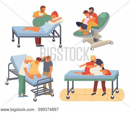 Pregnancy Preparing, Wife And Husband Make A Position Check In Different Poses. Exercising For Pregn