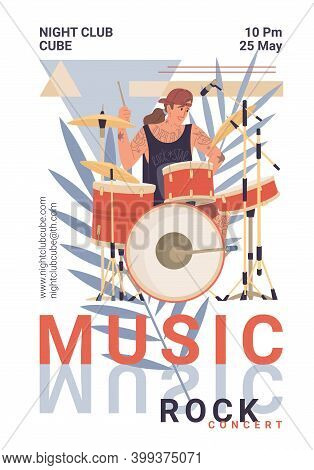 Vector Cartoon Flat Character On Live Rock Music Fest Plays Drums- Web Ad Banner Stories, Night Club