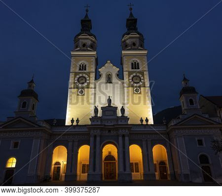 Brixen, Italy - October 9, 2020: Exterior Of The Dom Cathedral Church Of Brixen With Two Towers At N