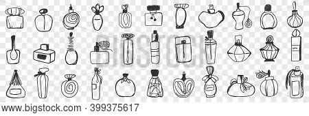 Perfume Containers Doodle Set. Collection Of Hand Drawn Vintage Stylish Bottle And Jars For Perfume