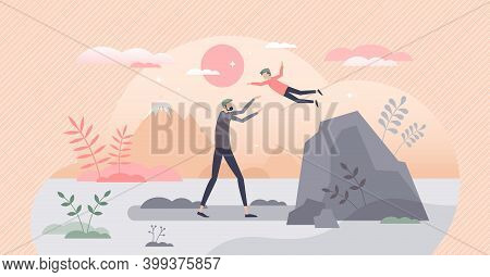 Kid Trusting With Catch And Fall Game As Symbolic Safety Tiny Person Concept