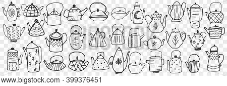 Teapots And Kettles Doodle Set. Collection Of Hand Drawn Various Stylish Teapots And Kettles For Bre
