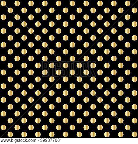 Golden Polka Dot Pattern Texture, Vector Illustration