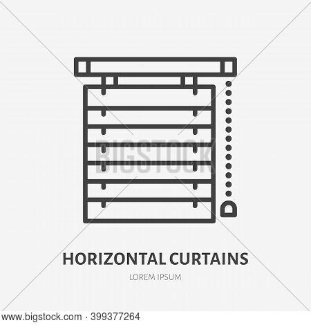 Window Horizontal Jalousie Flat Line Icon. Vector Outline Illustration Of Blind Curtain. Black Color