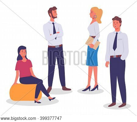 Business Meeting, Communicating Colleagues, Woman At Soft Chair, Standing Businesspeople, Businesswo