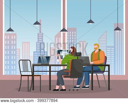 People Working With Computers Sitting At Table In Stylish Office With Panoramic Window. Woman Develo