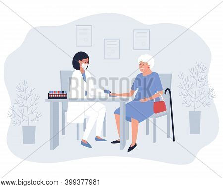 A Nurse Takes Blood From A Finger For Analysis From An Elderly Woman. Collecting Capillary Blood Sam