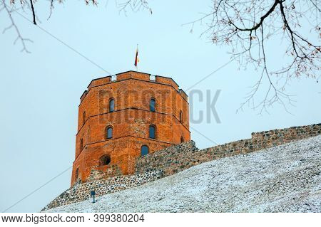 Gediminas' Tower In Winter In Snowstorm, Vilnius, Lithuania.