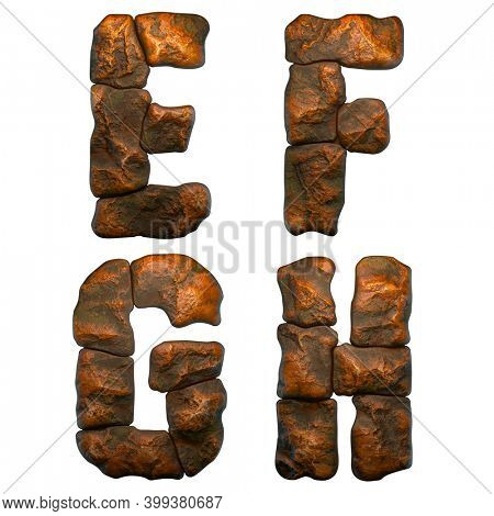 Set of rocky letters E, F, G, H. Font of stone on white background. 3d rendering
