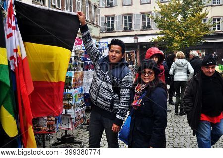 French People And Travelers Foreign Buy Souvenirs From Souvenir Gift Shop In Place Kleber Square Old