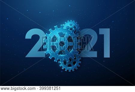 Abstract Happy 2021 New Year Greeting Card With Cogwheel.