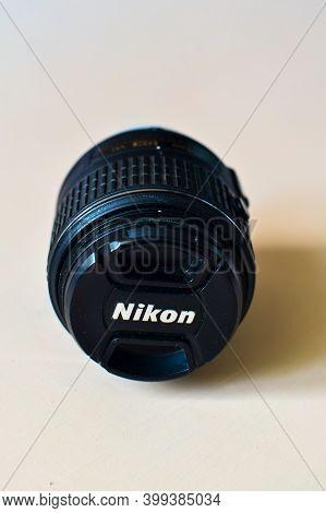 Moscow, Russian Federation March 23, 2020: Nikon Af-s Dx Nikkor 18-55mm. Lens For Nikon Dslr Cameras