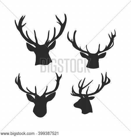 Black Vector Silhouette Of Deers Head With Antlers Isolated On White Background. Silhouette Of A Dee