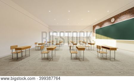 3d Rendering Of Classroom Interior And Desk Chair On Wood Floor And Empty Green Board Background.