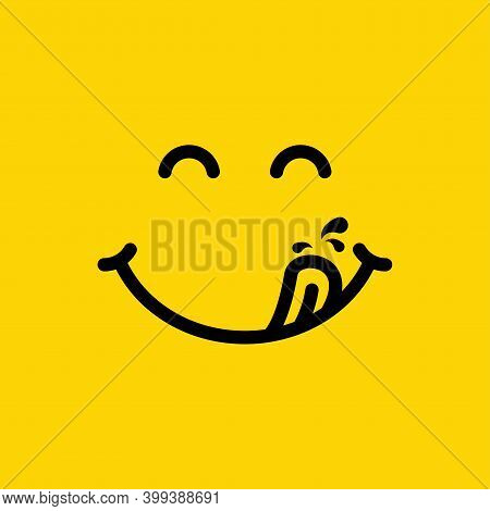 Yummy Face Smiley Icon Delicious With Tongue Lick Mouth, Tasty Food Eating Emoticon Face On Yellow B