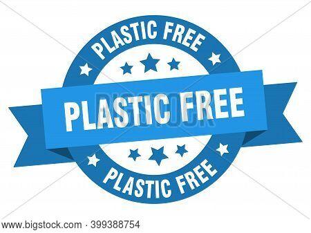 Plastic Free Round Ribbon Isolated Label. Plastic Free Sign