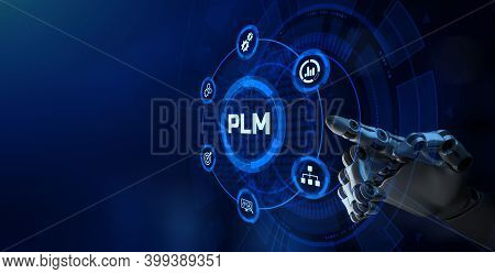Plm Product Lifecycle Management System Technology Concept. Robotic Arm 3d Rendering.
