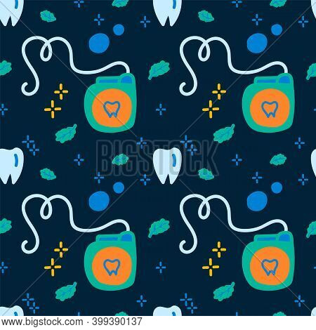 Pattern For Brushing Your Teeth. Cartoon Background Cleaning Of The Oral Cavity In A Linear Fashion.