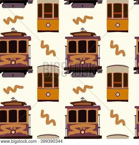 Old Tram Pattern. Yellow Tramcar Vehicles For City Trips. Streetcar Electric Cars In The States Are
